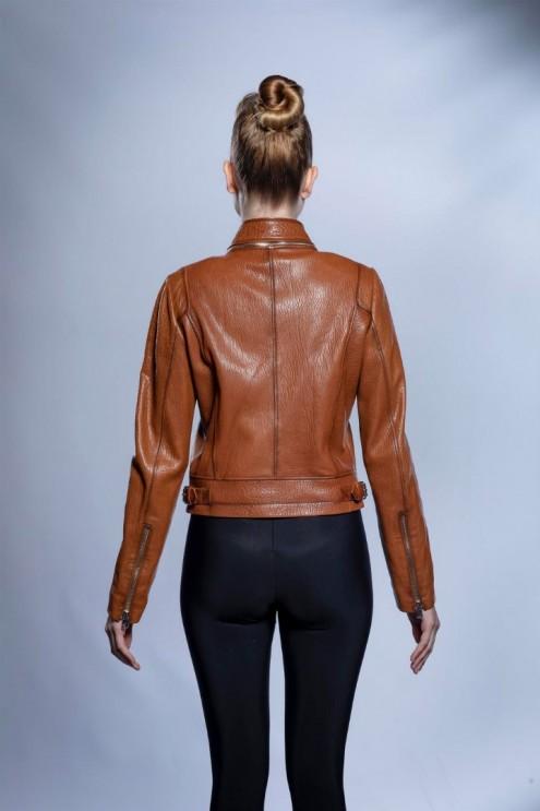Kadın Deri Ceket Whiski Jumbo