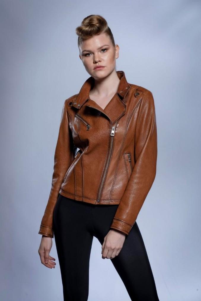 Kadın Deri ceket Kamel