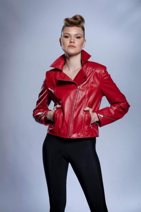 Kadın Deri Ceket Kırmızı